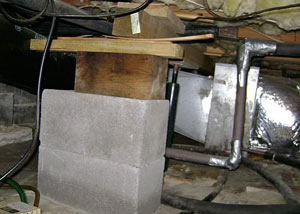 a poorly designed crawl space support system installed in a Shelbyville home