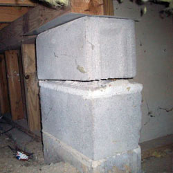 Collapsing crawl space support pillars Sparta
