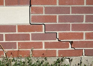 a foundation wall crack on a Sparta home.