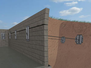 A graphic illustration of a foundation wall system installed in Tullahoma