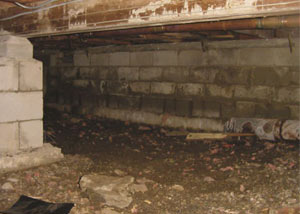 Rotting, decaying crawl space wood damaged over time in Tullahoma