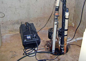 Pedestal sump pump system installed in a home in Shelbyville