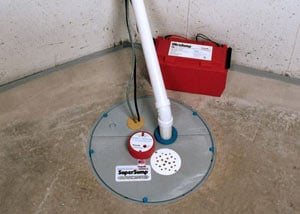 A sump pump system with a battery backup system installed in Tullahoma