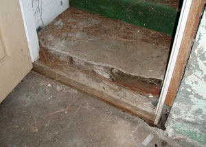 A flooded basement in Manchester where water entered through the hatchway door