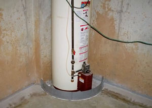 A water heater in Hartford that's been protected by the FloodRing® and a perimeter drain system.