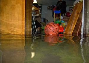 A flooded basement bedroom in Madison