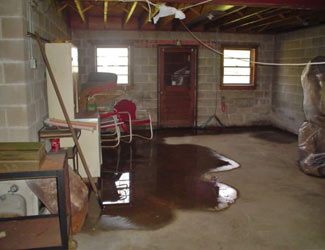a flooded basement floor in a Brentwood home