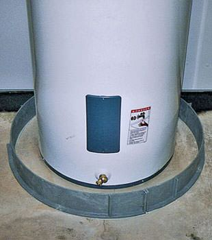 An old water heater in Manchester, TN and KY with flood protection installed